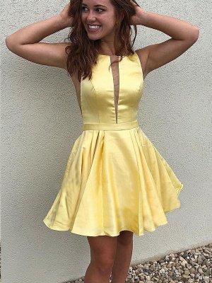 Sleeveless Stretch Satin Green Short Party Dresses Cheap Online_3