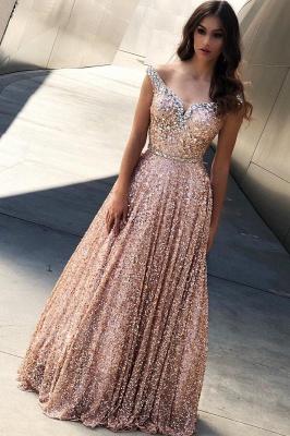 Rose Gold Sequin Affordable Evening Dress UKes UK UK |Sexy Off The Shoulder Elegant Bling-bling Prom Dress UK_1