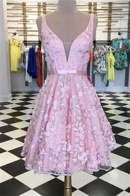 Illusion Appliques V-Neck Homecoming Dress_1
