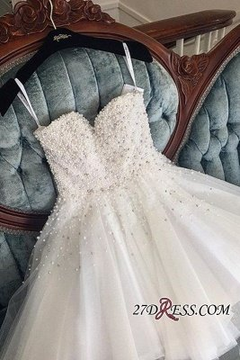 Knee-length Cute White Tulle Pearls Homecoming Dress UK BA9389_2