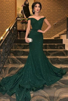 Dark Green Off-The-Shoulder Sequined Elegant Mermaid Sleeveless Sweep Train Prom Dress UKes UK UK_2