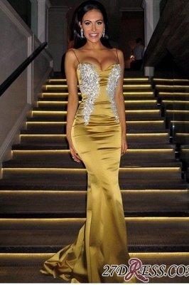 Applique Elegant Long Spaghetti-Straps Sweetheart Mermaid Prom Dress UKes UK_1