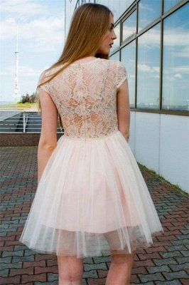 See Through Lace Champagne Tulle Lovely Sleeveless Short Evening Dresses_2