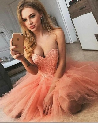 Tulle Beading Sweetheart Strapless Mini Homecoming Dress_3