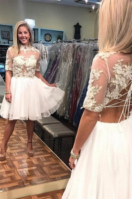 New Arrival A-Line Appliques High Neck Lace Short Sleeves Short  Homecoming Dress UK_2