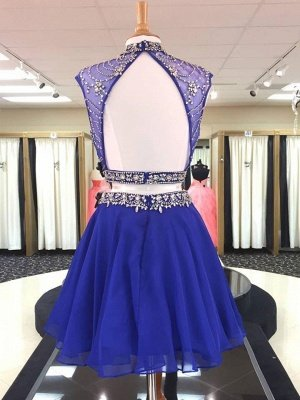 See Through Two Piece Crystals Homecoming Dresses | High Neck Beading Short Evening Dress_2