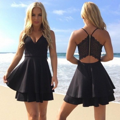 Chic Layers V-Neck Spaghetti-Straps Homecoming Dress_3