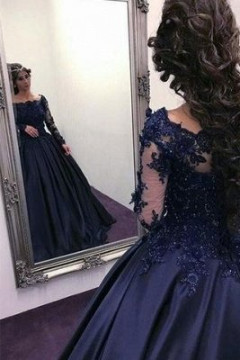 Navy Long Slaeeves Prom Dress UK | Ball-Gown Evening Gowns On Sale_1