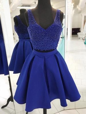 Two Piece Homecoming Dresses | Straps Beading Sleeveless Short Evening Dress_1
