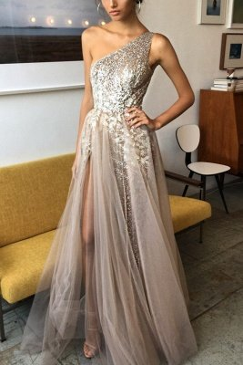Sexy One Shoulder Tulle Prom Dress UK Sequins With Split BA7859_2