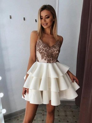 V-Neck Spaghetti-Straps Appliques A-Line Short Homecoming Dress_1