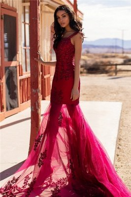 Burgundy Evening Gowns Cheap | Straps Appliques Tulle Mermaid Prom Dresses UK_3