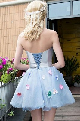 Flowers Strapless Cute Baby Blue Cheap Short Party Dresses Online_2