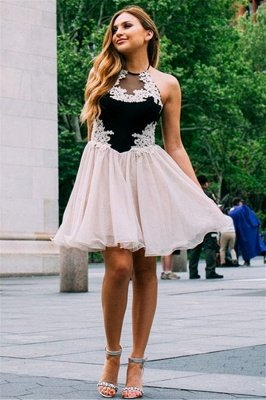 Jewel Appliques Sleeveless Mini Homecoming Dress_1