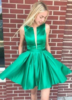 Sleeveless Stretch Satin Green Short Party Dresses Cheap Online_1
