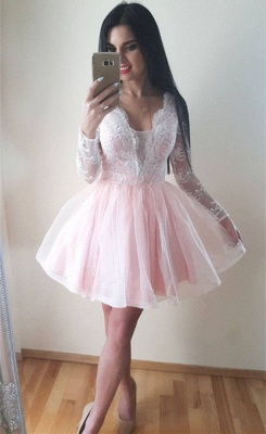 Long Sleeve Puffy Tulle Lace Formal Dresses | V-Neck Short Evening Dress UK_2