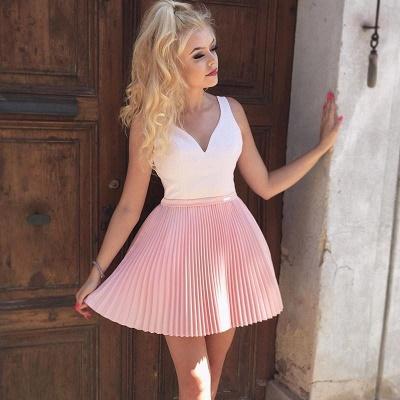Straps V-Neck Ruffles Formal Dresses   Cheap Sexy Short Evening Dress_4