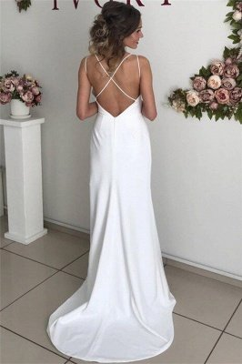 Affordable Open Back Evening Dresses UK | Spaghetti Straps Side Slit Sexy Prom Dresses_2