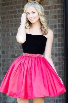 Strapless Short Mini A-Line Homecoming Dress with Beadings_1