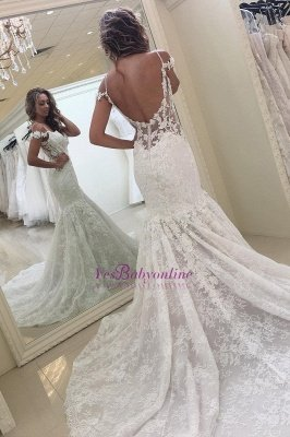 White Mermaid Off-the-shoulder Lace Modern Wedding Dress