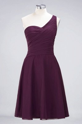 Sexy A-line Flowy One-Shoulder Sweetheart Sleeveless Short length Bridesmaid Dress UK UK with Ruffles_19