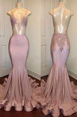 Newest Pink Beads Spaghetti Strap Prom Dress UK | Mermaid Prom Dress UK_2