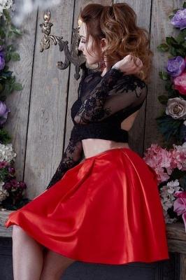 Sexy Two Piece Mini Party Dresses UK | Jewel Long Sleeve Short Evening Dress_2