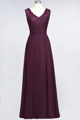 A-Line Chiffon Lace V-Neck Sleeveless Long Bridesmaid Dress UK_1