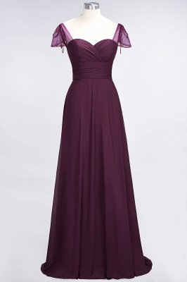 A-Line Chiffon Sweetheart Cap-Sleeves Ruffle Long Bridesmaid Dress UK with Beadings_1