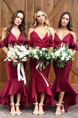 Burgundy 2019 Bridesmaid Dress UK | Mermaid V-Neck Maid of Honor Dress UK_2