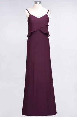 A-Line Chiffon Spaghetti-Straps V-Neck Sleeveless Long Bridesmaid Dress UK_1