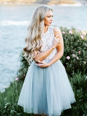 Smoky Blue Fluffy Tulle Chic Lace Party Dresses | Sleeveless Cheap Short Evening Dress_1