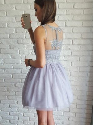 Lace Straps Short Homgcoming Dress_2