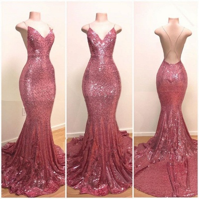 Stunning Pink Sequins Prom Dresses   2019 Mermaid Long Evening Gowns_2