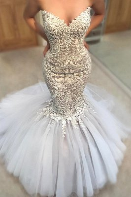 Delicate Appliques  Sexy Mermaid Wedding Dress | Sweetheart Neck Tulle Cheap Skirt Bridal Gowns_2