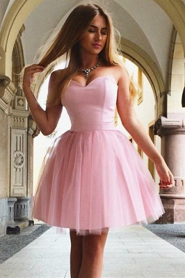 Pink Sweetheart Strapless A-Line Short Homecoming Dress_1