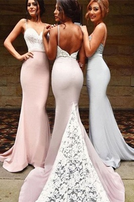 Luxury Mermaid Spaghetti Strap Bridesmaid Dress UK Lace On Sale th206_2
