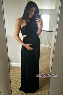 Long Black Sleeveless Elegant Halter Maternity A-line Prom Dress UK_1