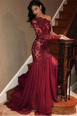 Sexy Tulle Lace One Shoulder Prom Dresses | Long Sleeve Burgundy Evening Dress UK_1