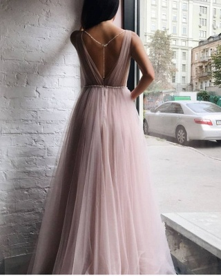 Tulle V-Neck Open Back Formal Dresses UK | Beaded Chains Sexy Evening Dress_3