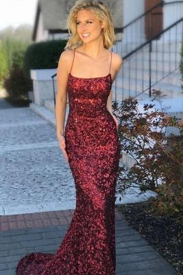 Elegant Spaghetti-Straps Sequins Evening Dress UK | 2019 Mermaid Prom Dress UK_2