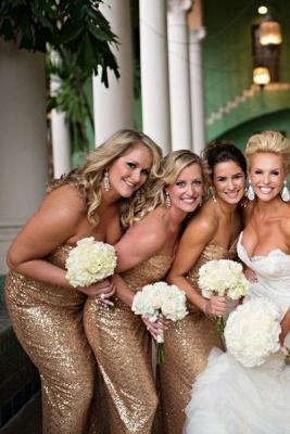 Gorgeous Mermaid Side Split Bridesmaid Dress UK Sleeveless Sequins_1