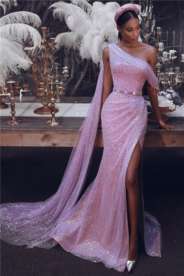Sparkling Sequins One Shoulder Prom Dresses | Sexy Slit Long Train Evening Dress UK_1