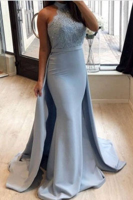 Lace Prom Dress UK With Ruffles | Mermaid Halter Long Evening Gowns_2