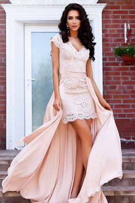 Stunning Cap Sleeve Lace Detachable Short Prom Dress UK Homecoming Dress UK BA7167_2