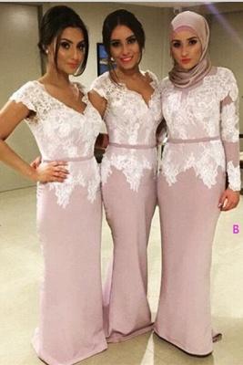 Modern V-neck Mermaid Lace Bridesmaid Dress UK Floor-length_1