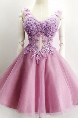 Beautiful V-Neck Sleeveless Short Prom Dress UK Appliques Tulle Homecoming Dress UK_2