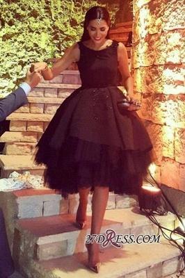 Elegant Lace Scoop Black Sleeveless Tulle Short Prom Dress UK BK0_1