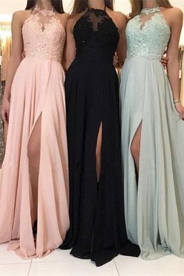 Sexy Halter Lace Evening Dress UK | 2019 Long Chiffon Prom Dress UK With Slit_2