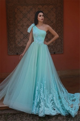 Gorgeous Green Tulle One Shoulder Prom Dresses | Lace Appliques Cheap Evening Dresses_1